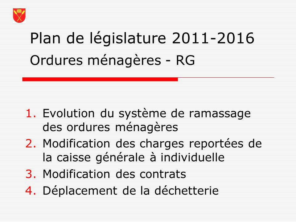 Plan de législature 2011-2016 Ordures ménagères - RG