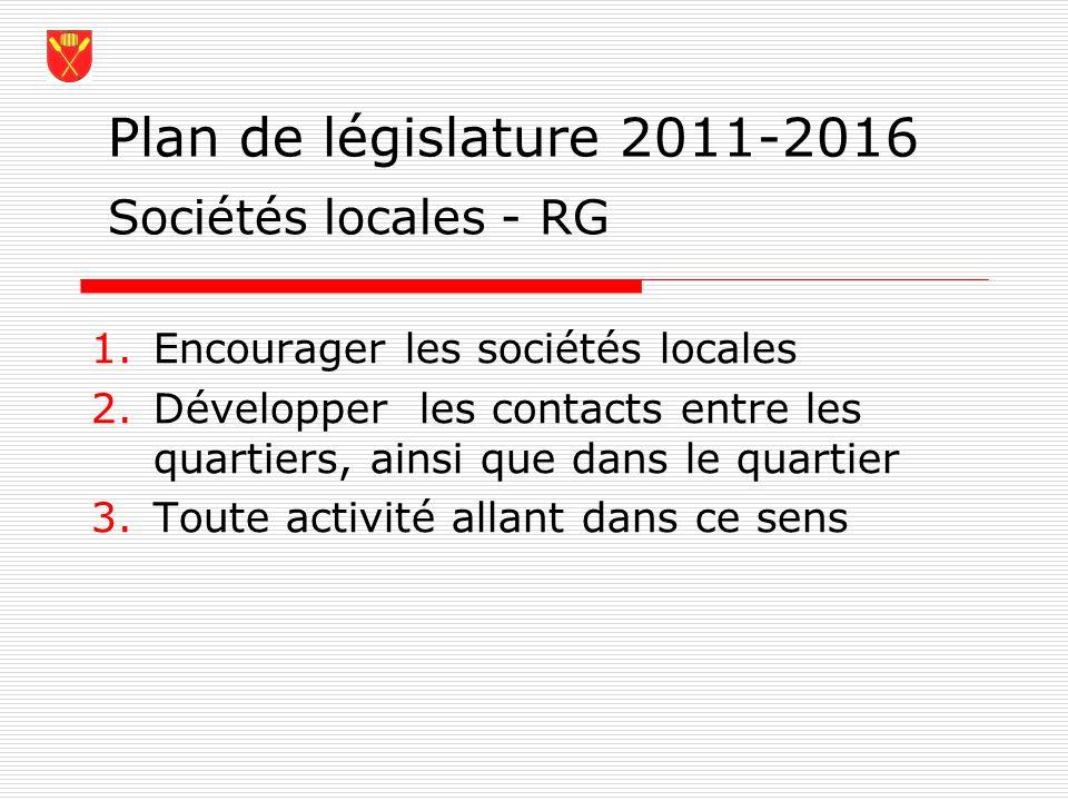 Plan de législature 2011-2016 Sociétés locales - RG