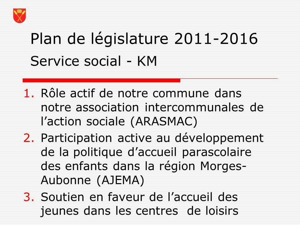Plan de législature 2011-2016 Service social - KM