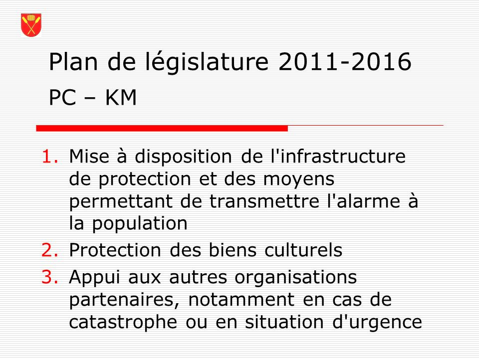 Plan de législature 2011-2016 PC – KM