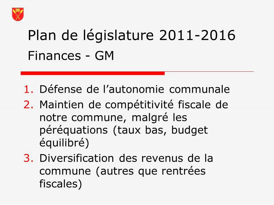 Plan de législature 2011-2016 Finances - GM