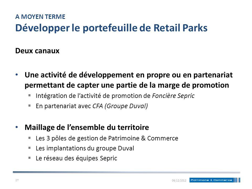 A MOYEN TERME Développer le portefeuille de Retail Parks