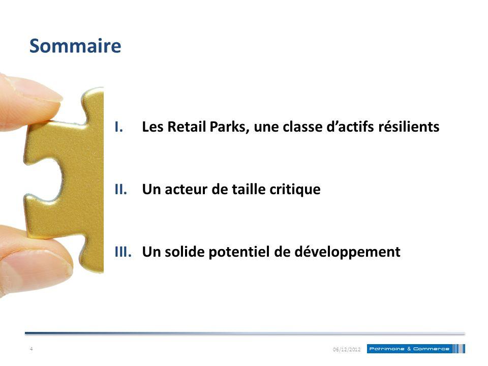 Sommaire Les Retail Parks, une classe d'actifs résilients