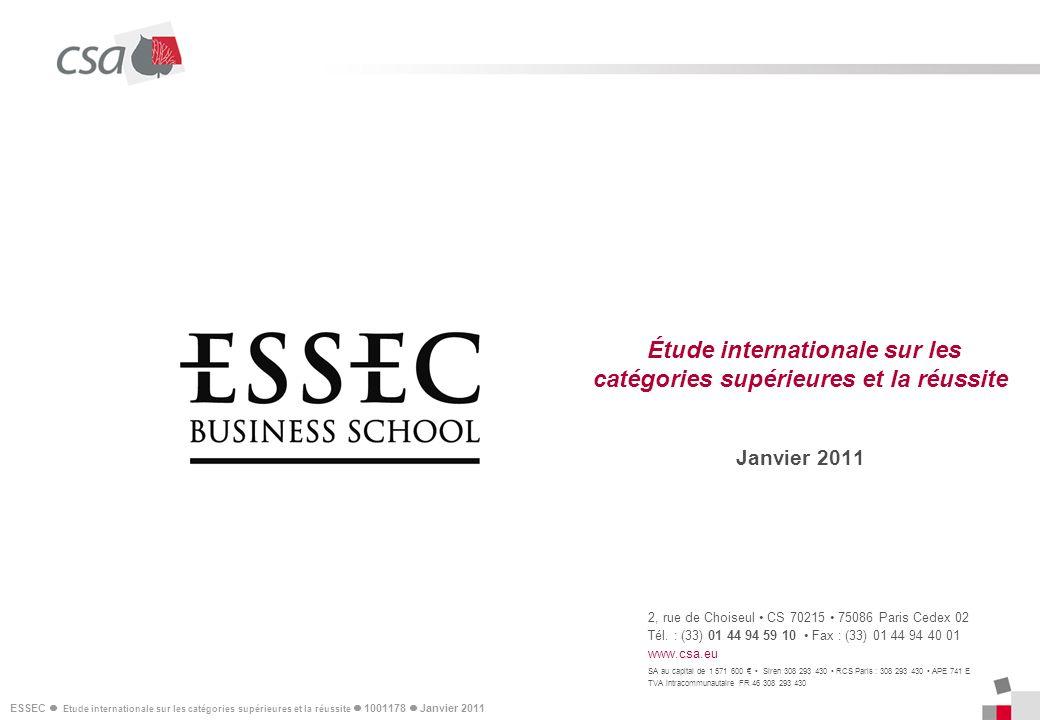 Étude internationale sur les catégories supérieures et la réussite Janvier 2011