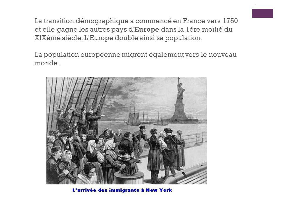 La population européenne migrent également vers le nouveau monde.
