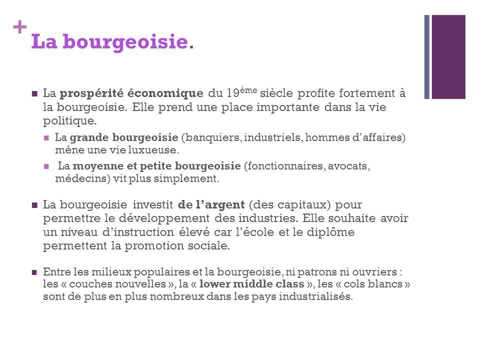 La bourgeoisie. La prospérité économique du 19ème siècle profite fortement à la bourgeoisie. Elle prend une place importante dans la vie politique.