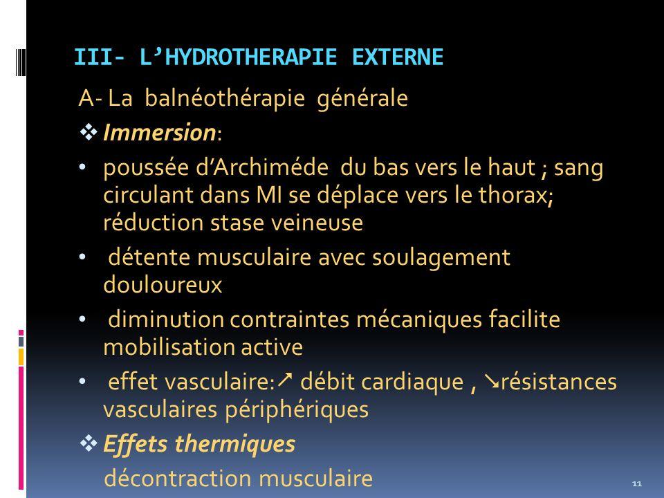 III- L'HYDROTHERAPIE EXTERNE