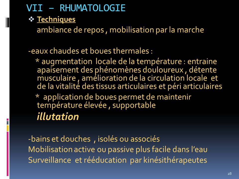 VII – RHUMATOLOGIE illutation