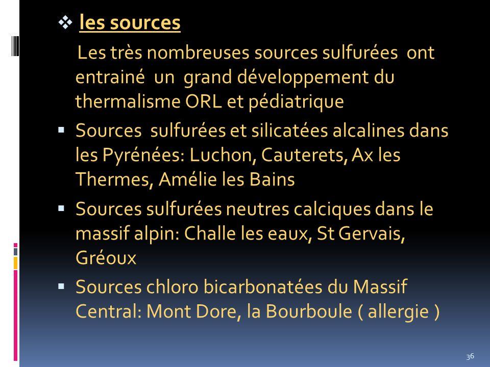 les sources Les très nombreuses sources sulfurées ont entrainé un grand développement du thermalisme ORL et pédiatrique.