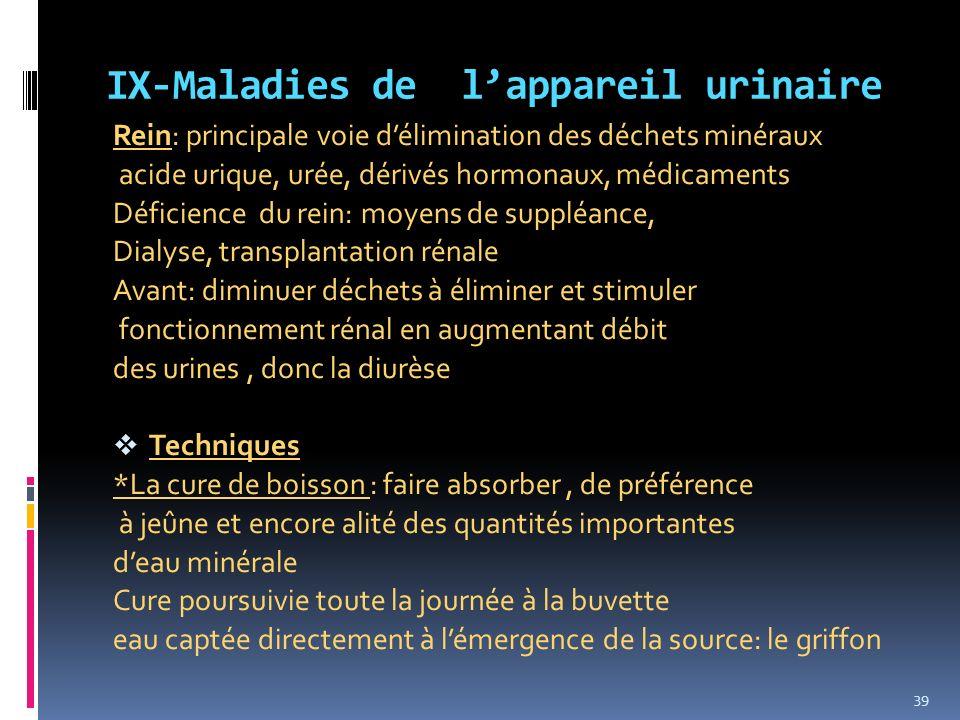 IX-Maladies de l'appareil urinaire