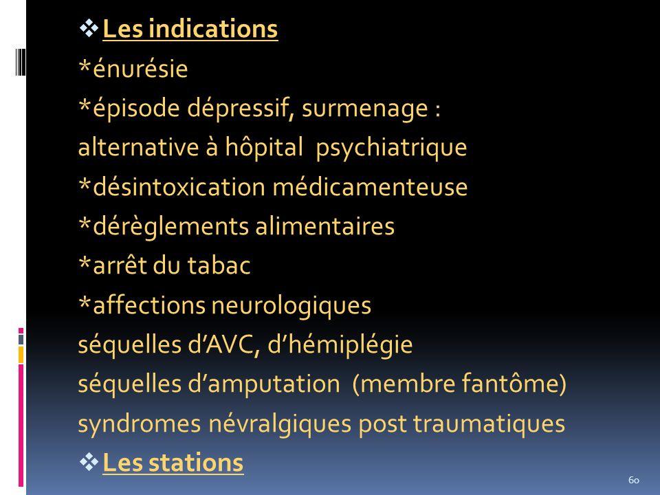 Les indications *énurésie. *épisode dépressif, surmenage : alternative à hôpital psychiatrique. *désintoxication médicamenteuse.