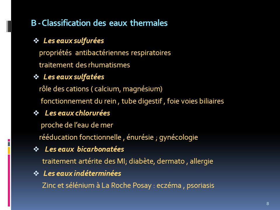 B - Classification des eaux thermales