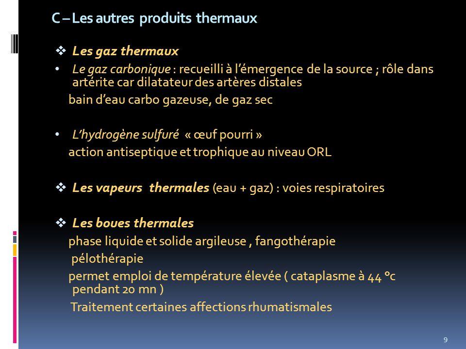 C – Les autres produits thermaux