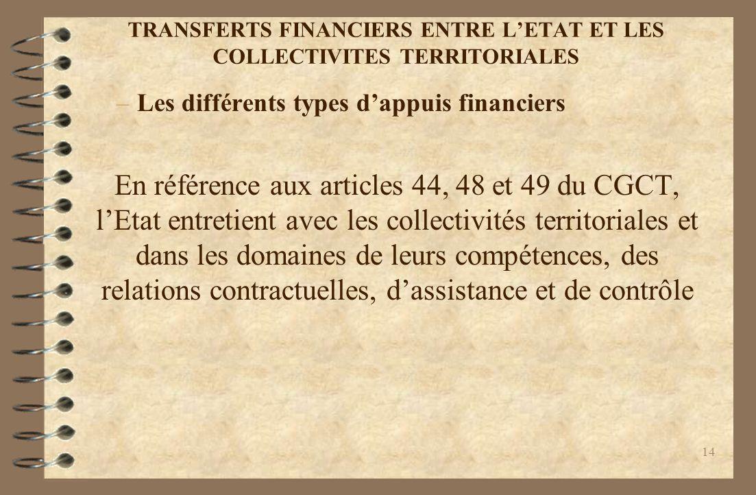 TRANSFERTS FINANCIERS ENTRE L'ETAT ET LES COLLECTIVITES TERRITORIALES