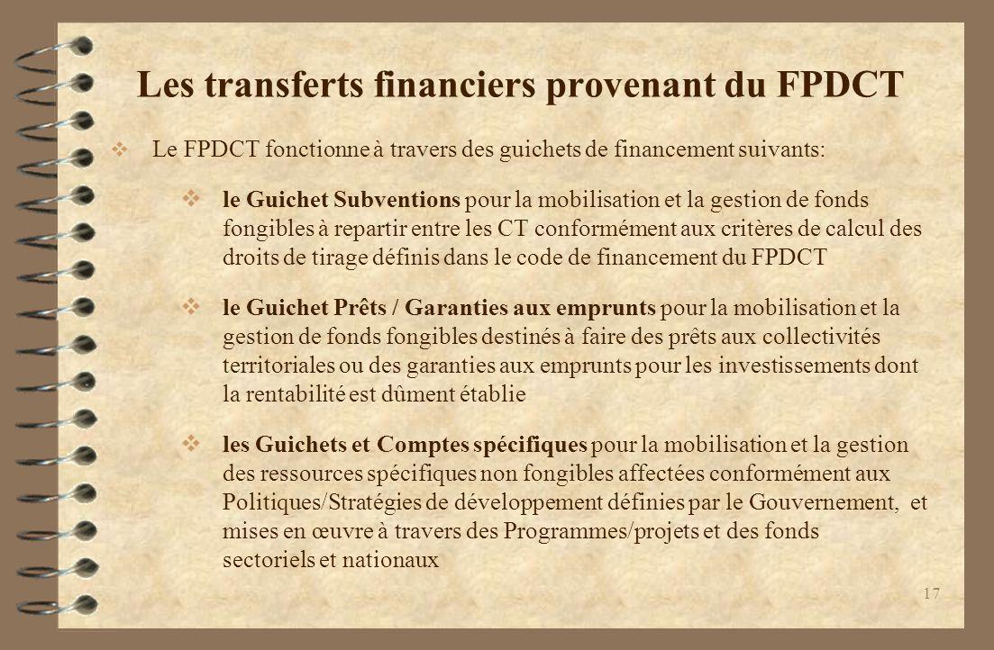 Les transferts financiers provenant du FPDCT