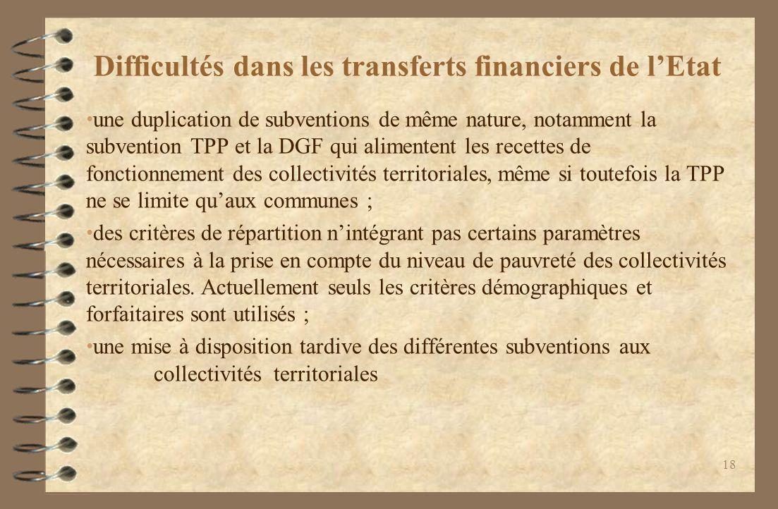 Difficultés dans les transferts financiers de l'Etat