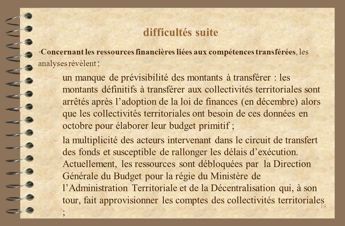difficultés suite Concernant les ressources financières liées aux compétences transférées, les analyses révèlent :