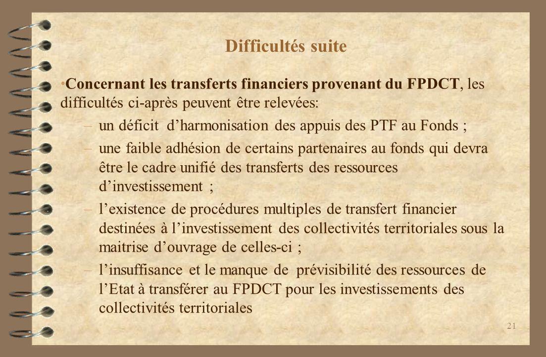 Difficultés suite Concernant les transferts financiers provenant du FPDCT, les difficultés ci-après peuvent être relevées: