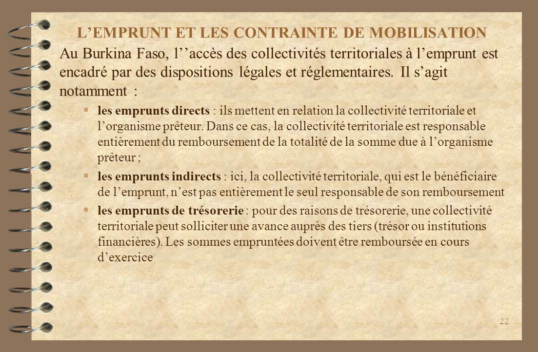 L'EMPRUNT ET LES CONTRAINTE DE MOBILISATION