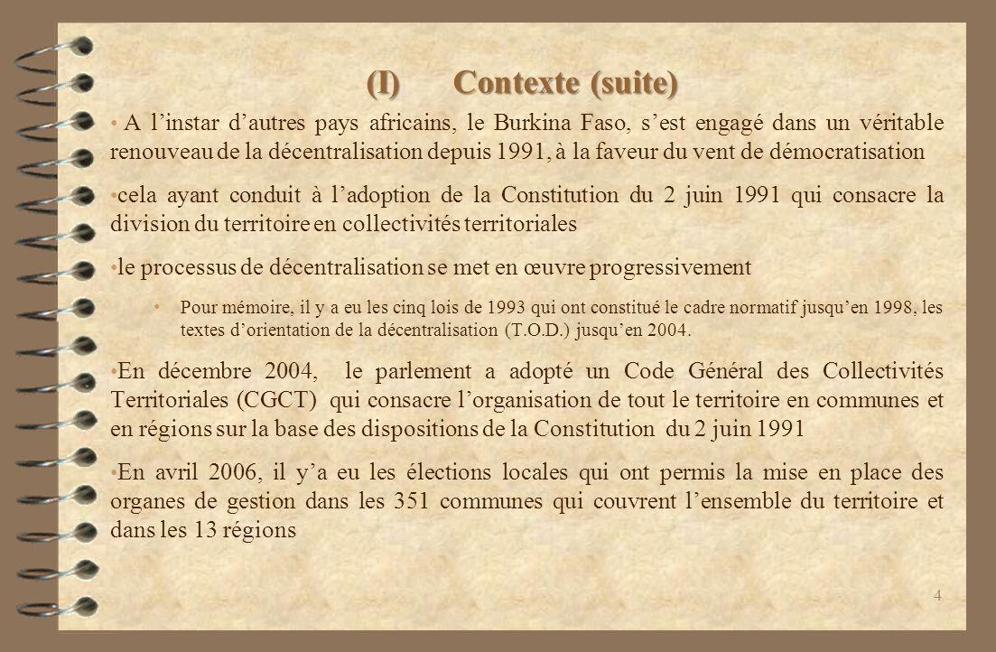 (I) Contexte (suite)