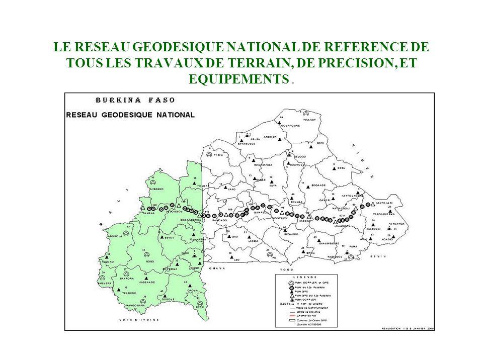 LE RESEAU GEODESIQUE NATIONAL DE REFERENCE DE TOUS LES TRAVAUX DE TERRAIN, DE PRECISION, ET EQUIPEMENTS .