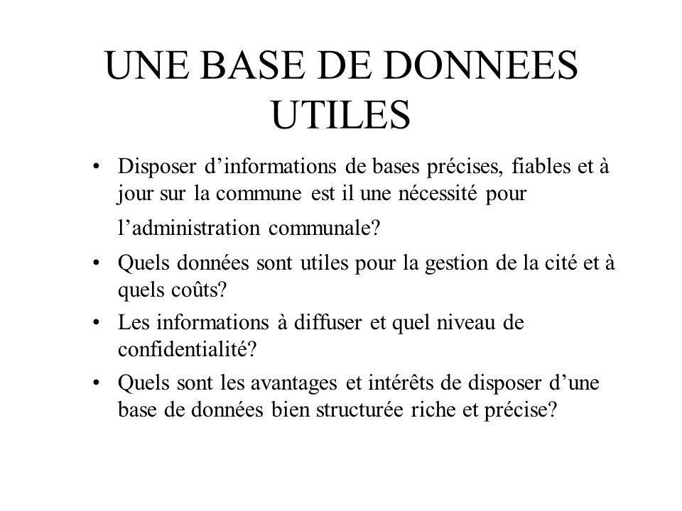 UNE BASE DE DONNEES UTILES