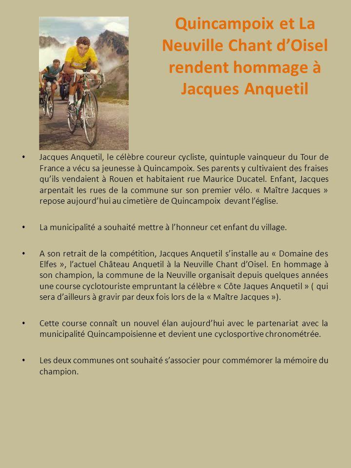 Quincampoix et La Neuville Chant d'Oisel rendent hommage à Jacques Anquetil