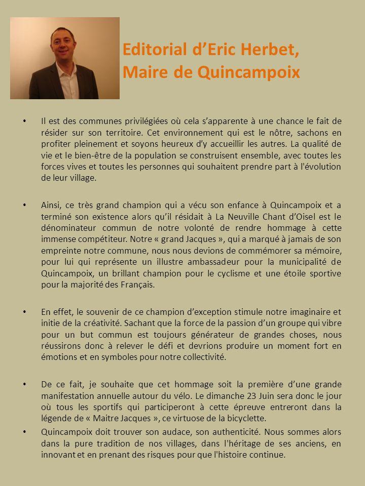 Editorial d'Eric Herbet, Maire de Quincampoix