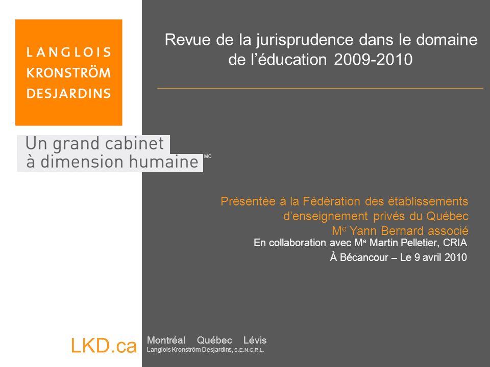 Revue de la jurisprudence dans le domaine de l'éducation 2009-2010