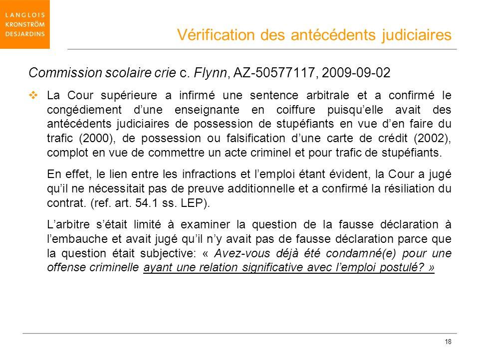 Vérification des antécédents judiciaires