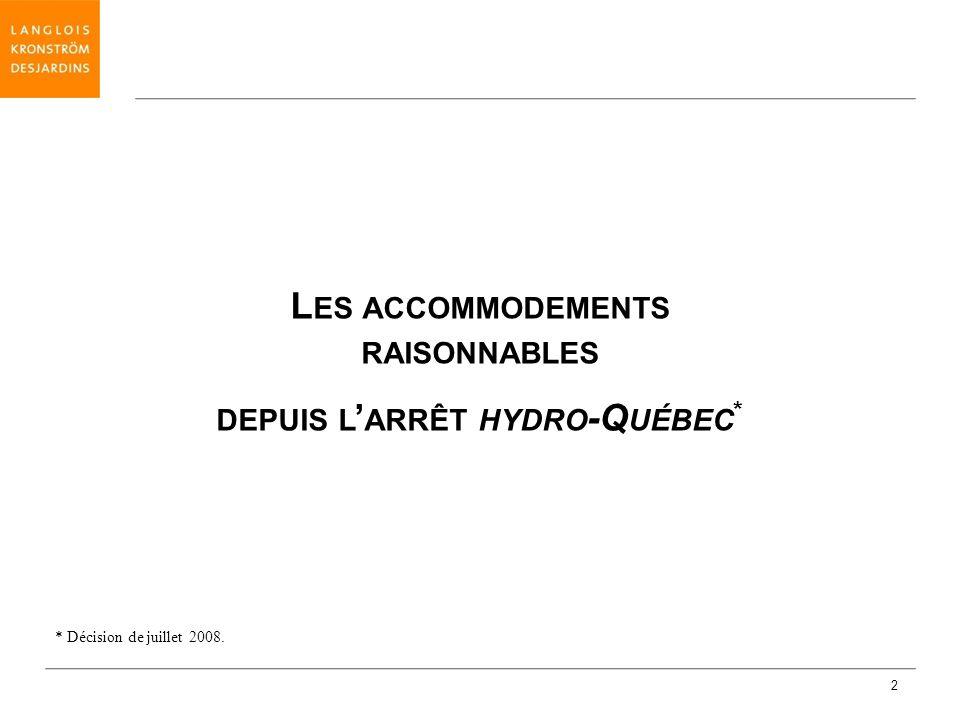 Les accommodements raisonnables depuis l'arrêt hydro-Québec*
