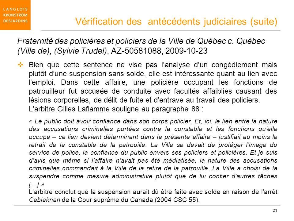 Vérification des antécédents judiciaires (suite)