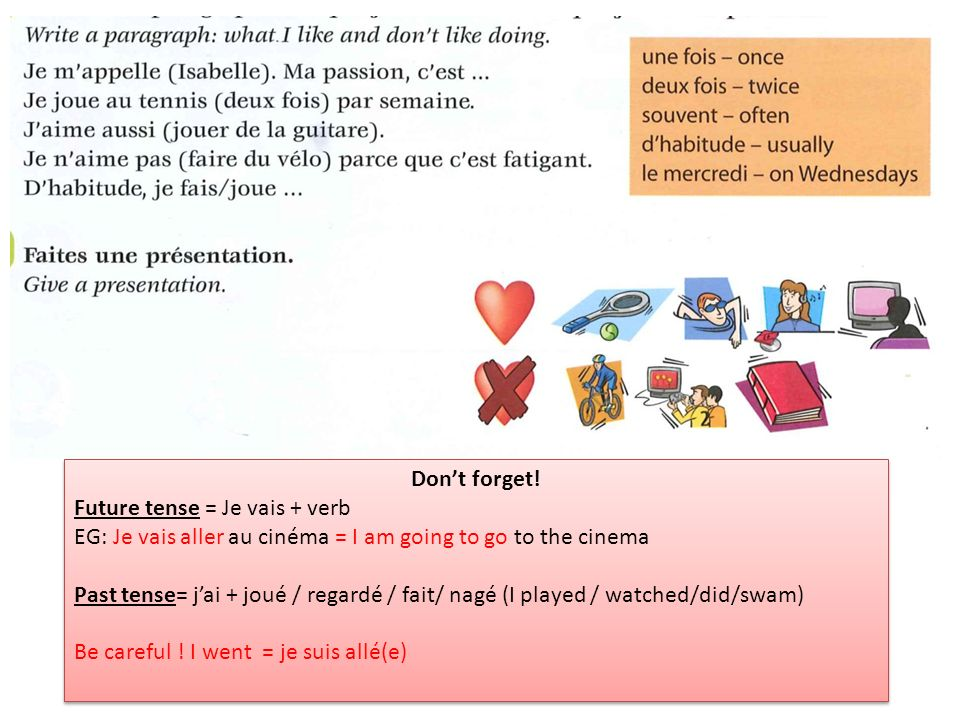 Don't forget! Future tense = Je vais + verb. EG: Je vais aller au cinéma = I am going to go to the cinema.
