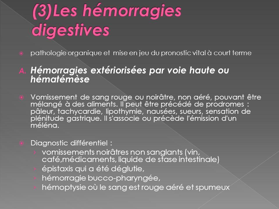 (3)Les hémorragies digestives