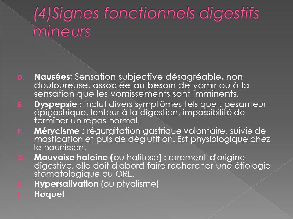 (4)Signes fonctionnels digestifs mineurs