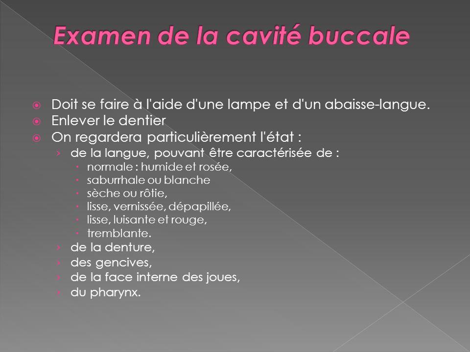 Examen de la cavité buccale