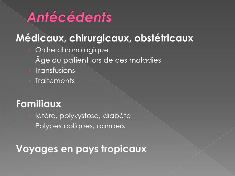 Antécédents Médicaux, chirurgicaux, obstétricaux Familiaux