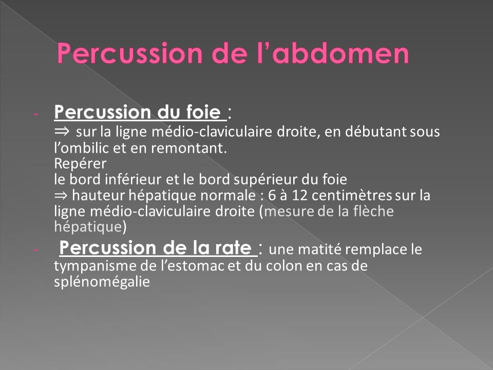 Percussion de l'abdomen