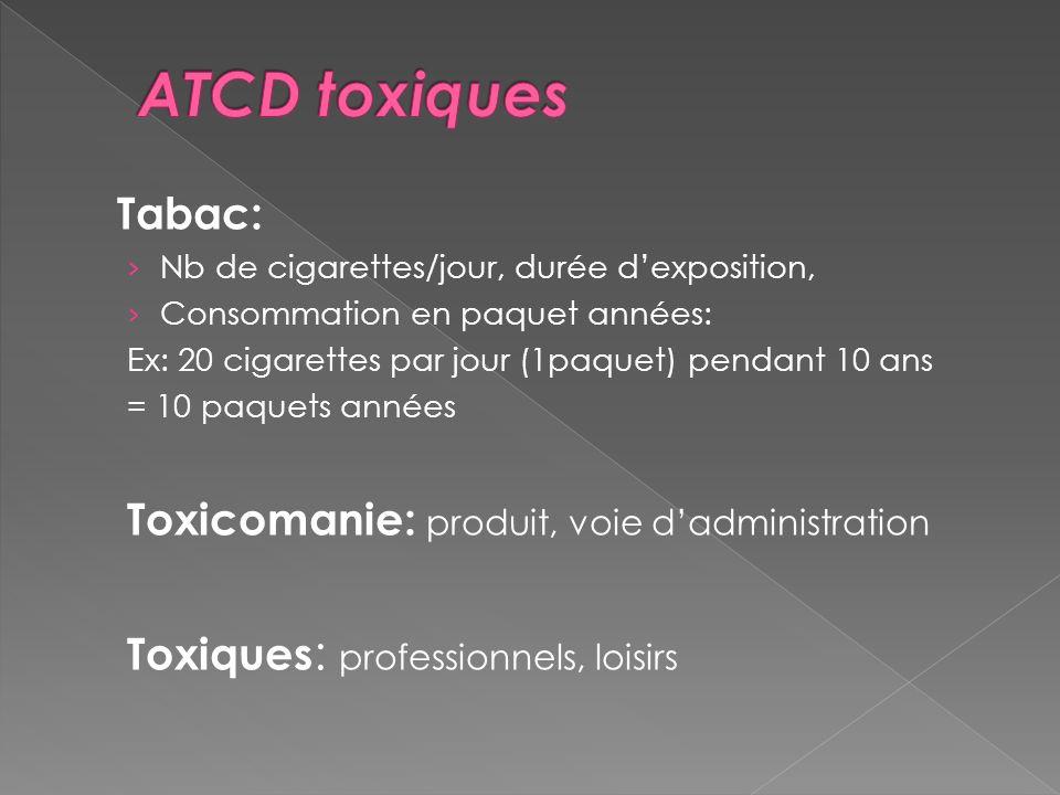 ATCD toxiques Tabac: Toxicomanie: produit, voie d'administration