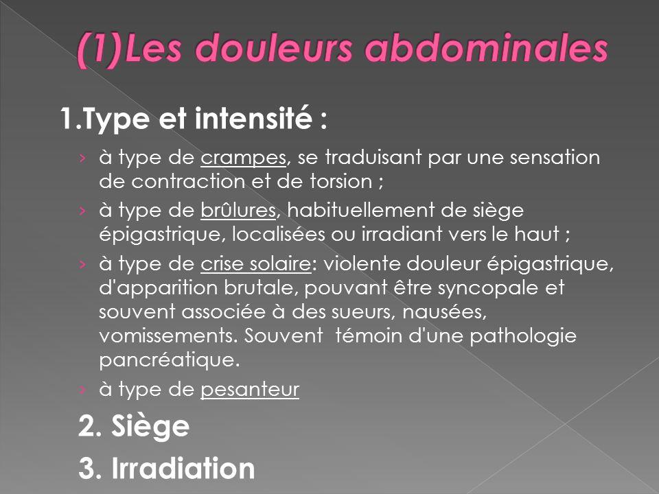 (1)Les douleurs abdominales