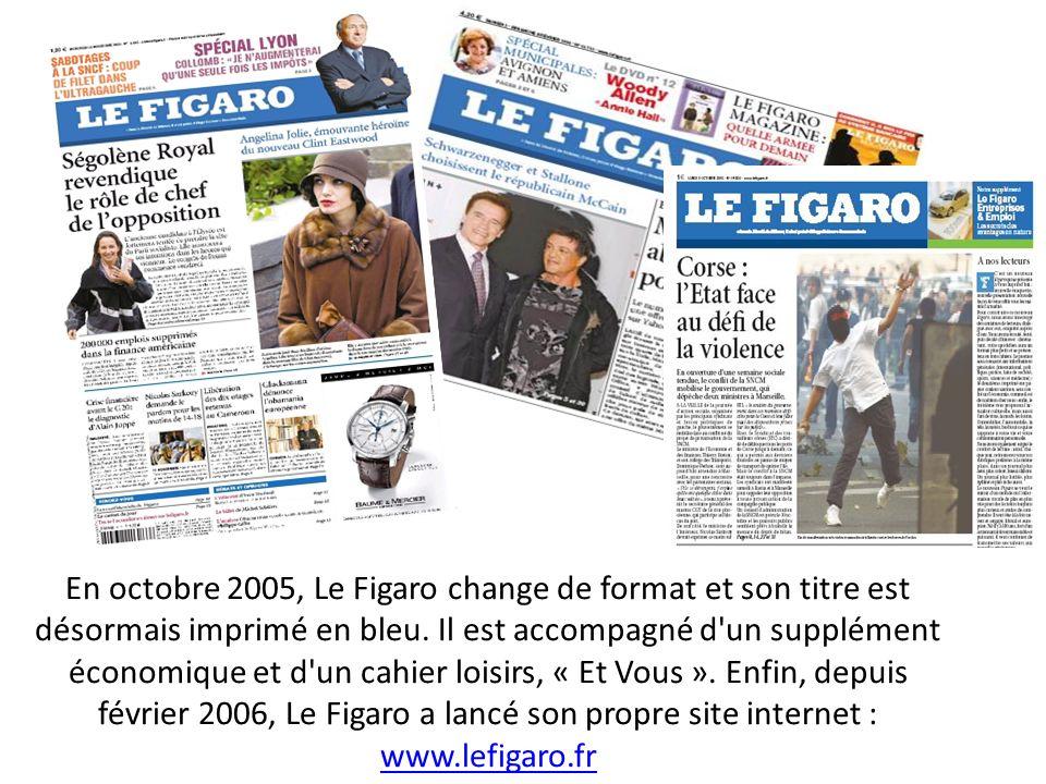 En octobre 2005, Le Figaro change de format et son titre est désormais imprimé en bleu.