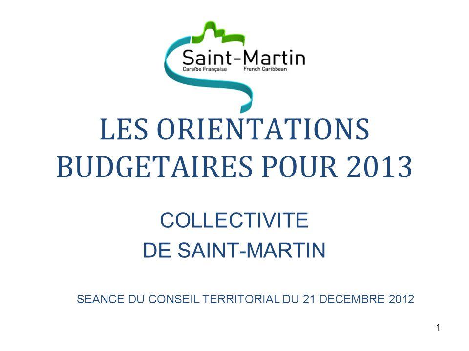 LES ORIENTATIONS BUDGETAIRES POUR 2013