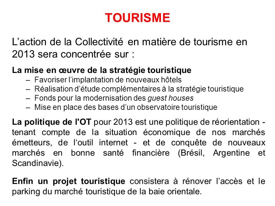 TOURISME L'action de la Collectivité en matière de tourisme en 2013 sera concentrée sur : La mise en œuvre de la stratégie touristique.