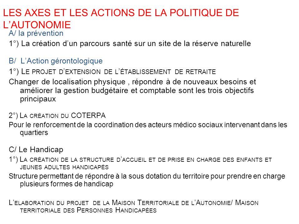 LES AXES ET LES ACTIONS DE LA POLITIQUE DE L'AUTONOMIE