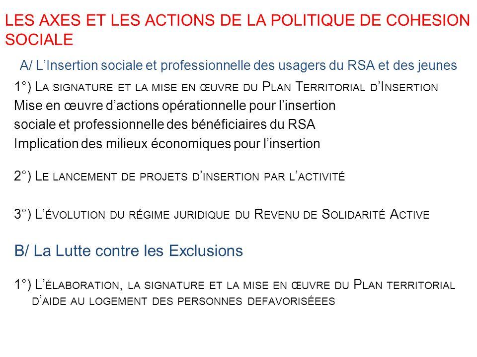 LES AXES ET LES ACTIONS DE LA POLITIQUE DE COHESION SOCIALE