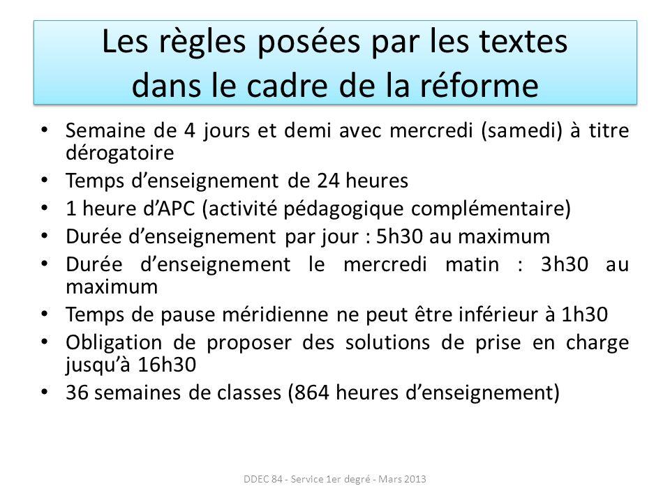 Les règles posées par les textes dans le cadre de la réforme