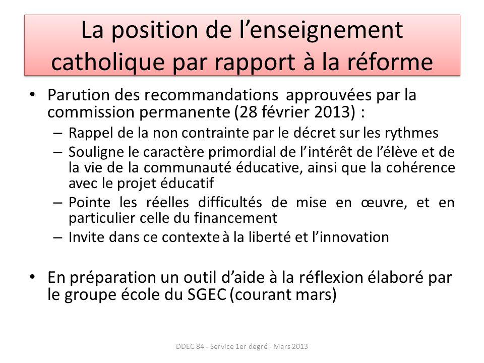 La position de l'enseignement catholique par rapport à la réforme