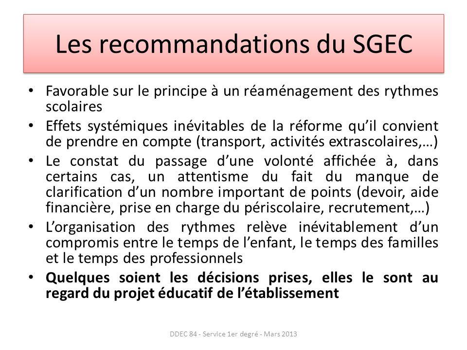 Les recommandations du SGEC