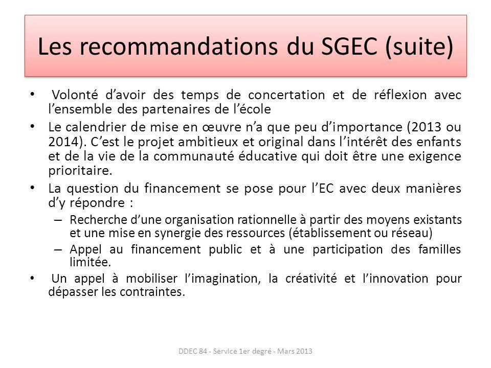 Les recommandations du SGEC (suite)