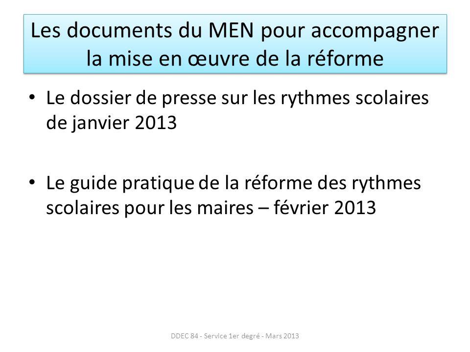 Les documents du MEN pour accompagner la mise en œuvre de la réforme